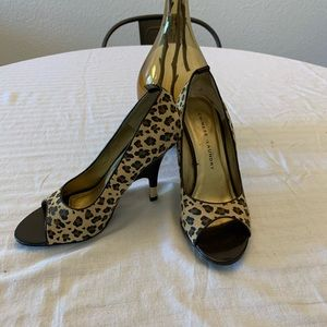 Chinese Laundry Leather Leopard Print Heels